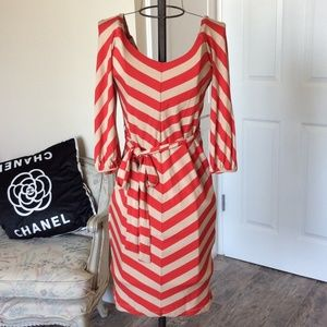 Bebe Coral and Tan Color Dress